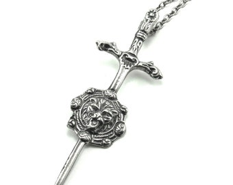 LAST ONE! Gothic Necklace -  Braveheart  - Medieval Inspired Sword and Lion Statement Choker - by Ghostlove