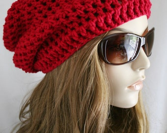 Slouchy Beanie Hat for Women Slouch Hat Womens Crochet  Cherry Red Plus Other Color Options Unisex Hat Beret Hat or Tam Hat Skater boy Cap