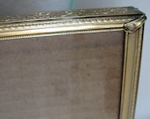 Vintage Metal Picture Frame Gold Decorative Floral Scroll Rope and Bead 8 x 10 Easel 1950s