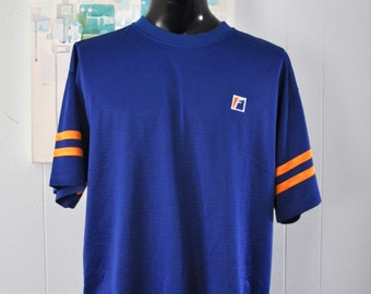 80s Vintage Franklin Mesh Warmup Athletic Soccer Football Basketball Field Sports Royal Blue Orange U Florida TShirt Tee Gym XL