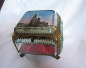 Antique French Beveled Glass Jewelry Box Casket Ormolu Grand Tour Souvenir Strasbourg