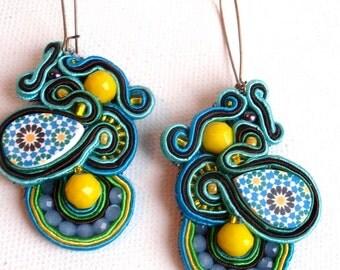 Yellow turquoise soutache earrings , spring summer long brass hoop earrins , boho chic chandelier earrings , green blue mosaic