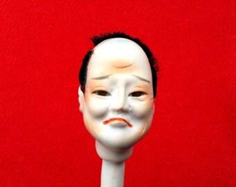 Japanese Porcelain Man Doll Head D5-13 Samurai Doll Head