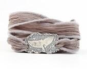 Whale Tail Bracelet, Recycled Silver Hand Dyed Silk Wrap Bracelet, Nautical, Ocean Jewelry