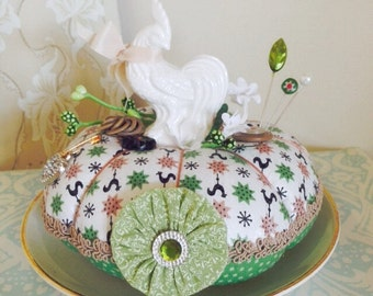 Vintage White Rooster Handmade Pincushion