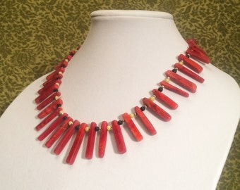 Red Coral Necklace with Black Onyx, Pineapple Jade, and Silver Beads