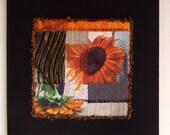 Art Quilt, Fiber Art, Wall Hanging, miniature quilt, collage art, fiber collage, Textile art