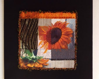Art Quilt, Fiber Art, Wall Hanging, miniature quilt, collage art, fiber collage, Textile art