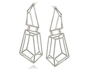 Geometric Sterling Silver Earrings, Statement Silver Earrings, Bridal Long Earrings, Gifts for Her, Dangle Silver Earrings