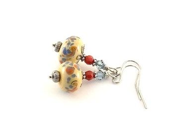 Dotted Lampwork Earrings - Blue Red and Cream Earrings - Lampwork Earrings - Small Earrings - Czech Glass Earrings - Silver Earrings - E003