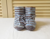 Size 6 to 9 Months Boys Hand Knitted Baby Booties/ Blue And Brown/ Handmade Baby Clothes/ Baby Shower Gift Idea