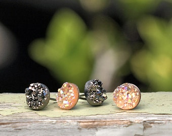 8mm Gunmetal Gray and Peach Glitter Studs, Faux Druzy Earrings Set of 2, Titanium or Stainess Steel Posts