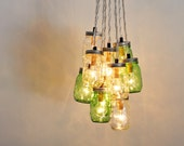 MASON JAR CHANDELIER Cluster - Upcycled Hanging Chandelier Lighting Fixture Featuring Green & Clear Jars - BootsNGus Lighting And Home Decor