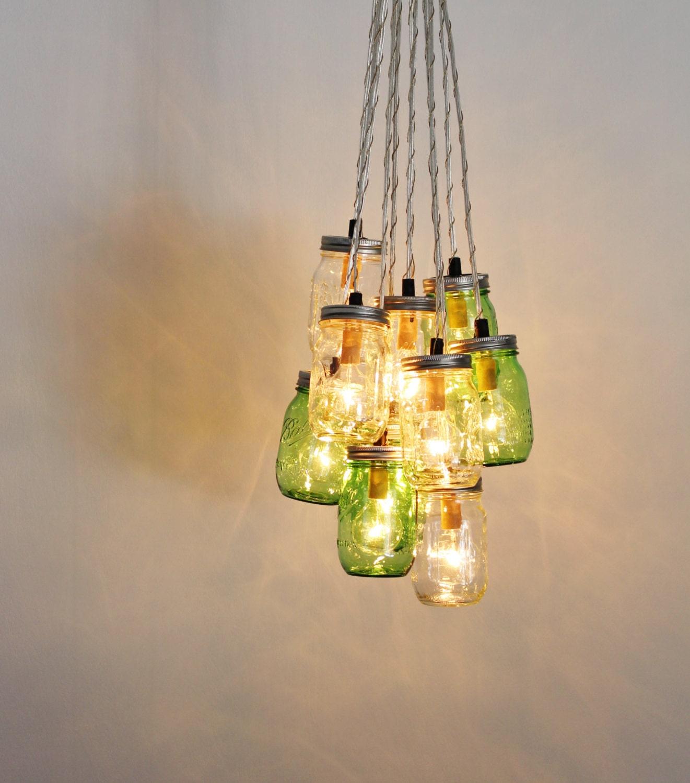 Mason Jar Lighting: MASON JAR CHANDELIER Cluster Upcycled Hanging Chandelier