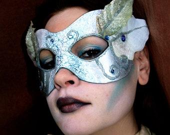 Silver Leather Base Frozen Fairy mask silk and velvet plants