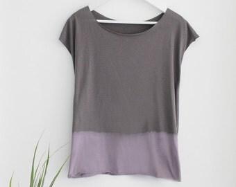 Grey and Purple tie dye shirt, Women t-shirt, short sleeves tshirt, Designer Shirt
