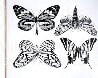 Large Butterfly Ceramic Decals, Glass Decals or Enamel Decals