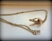 Bird Skull Necklace Cast in Bronze on Long Chain - Goth Jewelry - Bone Jewelry