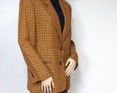 Vintage Plaid Blazer 1980's Ann Taylor Jacket Women's Vintage Gold Coat Mustard Yellow Size 6