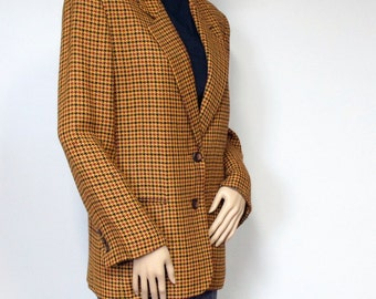 Vintage Jacket Plaid Blazer 1980's Ann Taylor Jacket Women's Vintage Gold Coat Mustard Yellow Size 6