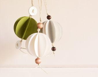 READY TO SHIP Trio of Mini Geometric Orb Ornaments-Avocado, Silver, White