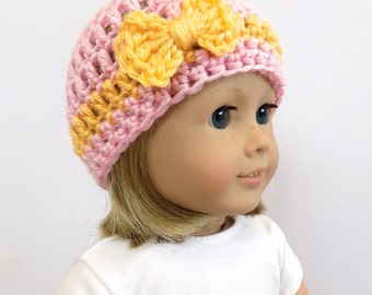 18 Inch Doll Hat, Doll Clothes, Pink Doll Beanie