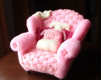 Miniature Needle Felted Pink Arm Chair - Arm Chair Adventures NeedleFelted Soft Sculpture by Bella McBride