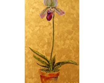 Oil Painting,  Lady Slipper Orchid, Original painting, Floral painting, Garden Art, Original oil on wood, Woodland decor, wall art