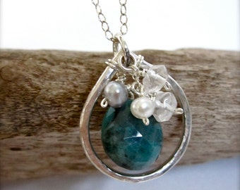 Beach Wedding Necklace, Sterling Silver Teardrop Necklace, Turquoise Necklace, Chrysocolla, Blue gemstone necklace, mother gift