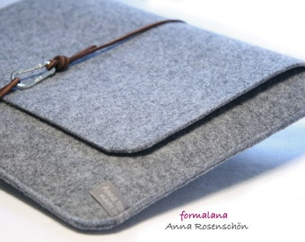 leather gray felt notebook case for laptop MacBook and other