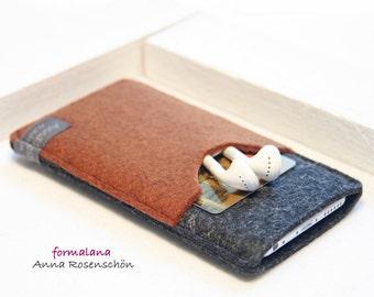 anthracite brown case felt headphones bag earphones for iPhone 4 5 6 plus mobile Samsung HTC LG