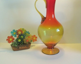 Vintage, Over-sized, Mid-Century Handblown Pitcher in Red & Yellow