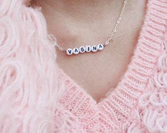 NEW silver & white VAGINA chain necklace 90's  - gift idea: have one personalised