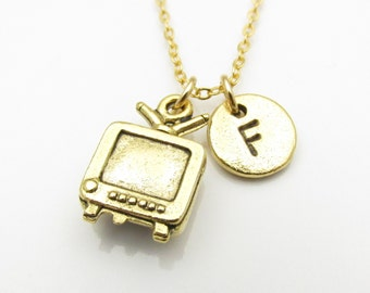 TV Necklace, Gold Television Charm, Initial Necklace, Antique Gold Retro TV Charm, Personalized Stamped Initial, Monogram Necklace Z013
