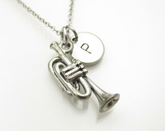 Trumpet Necklace, Silver Trumpet Necklace, Personalized Initial Necklace, Music Instrument, Antique Silver, Music Charm, Monogram Y165