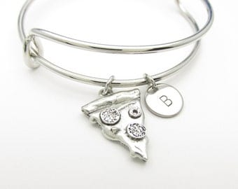 Pizza Bangle, Pizza Slice Bangle Bracelet, Adjustable Bangle, Personalized, Stamped Initial, Silver Pizza Charm, Expandable Bangle K002