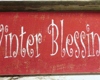 Winter Blessings Primitive Red Wood Sign Christmas Holiday Decoration