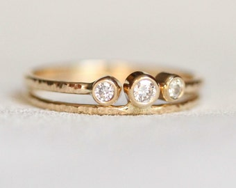 Solid 14k Gold - Unique Wedding Set of Two Natural White Diamond Rings - Modern Wedding Set - White or Yellow Gold - Delicate Dainty Rings