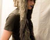 Upcycled Grey Bear Scoodie- Forest, Tribal, Festival, Burning Man, Spirit Hood