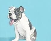 Custom Dog Portrait - 8x8 inch Painted Portrait - Custom Pet Portrait -English BulldogPainting - Custom Pet Painting- Dog Art