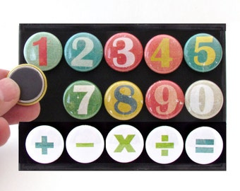 Multi Colored Math Teaching Magnets - Colorful Home Schooling Aid - Mathematics Learning Toy - Math Magnets - Back to School Number Magnets