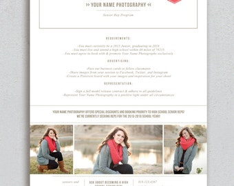 Photography Flyer - Senior Marketing Template - High School Senior Rep Design - Photoshop Templates - High School Senior Photography Guide