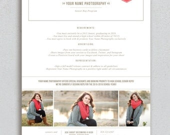 Senior Marketing Template - High School Senior Rep Design - Photoshop Templates - High School Senior Photography Guide - m0160