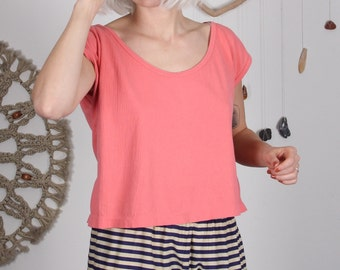 Soft Pink Boxy Summer Top - M