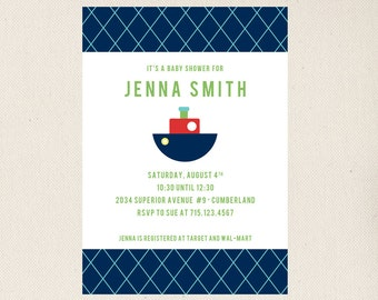 Tug Boat Baby Shower Invitation