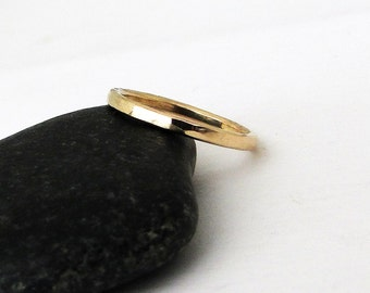 Simple Gold Wedding Band Women's Wedding Ring Plain 14k Wedding Rings Hammered Unique Wedding Rings Rustic Wedding Bands Gift for Her Mom