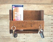 Rustic key holder and mail organizer, reclaimed wood key rack, entryway shelf, wooden key hook, mudroom decor, entryway decor