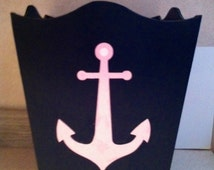 Anchor waste basket nautical room decor anchor nursery for Anchor decoration runescape