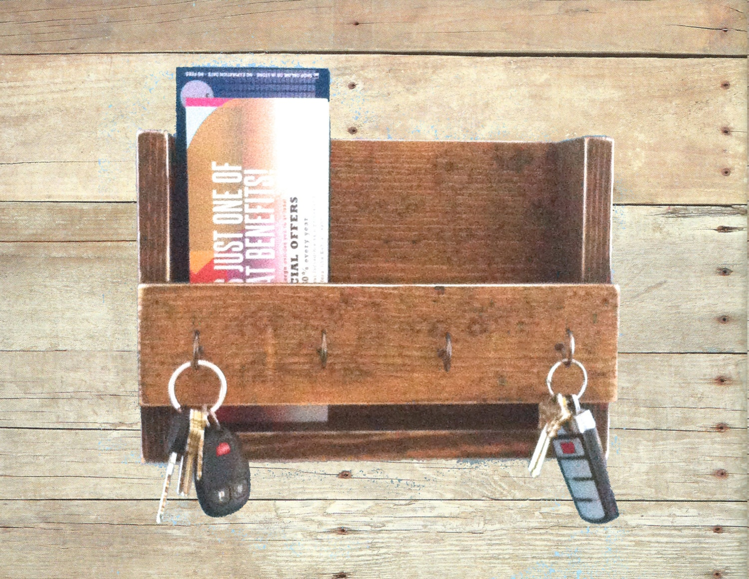 Rustic key holder and mail organizer reclaimed wood key rack - Key hook and mail holder ...