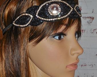 Great Gatsby Rhinestone and Bead Headband Boho Flapper Design Black